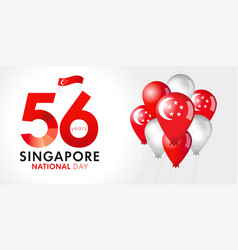 56 years anniversary singapore national day banner vector