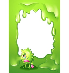 A border design with a green monster in tears vector