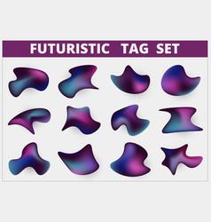 Abstract futuristic tag set free shape design vector