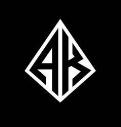 Ak logo letters monogram with prisma shape design vector