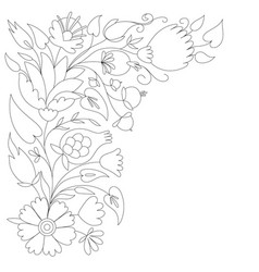 Antistress coloring page with floral design vector