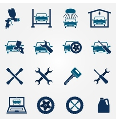 Auto service and repair flat icon set vector image