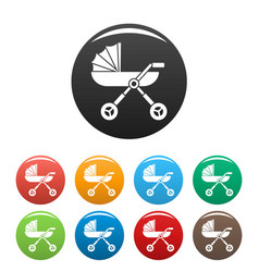 Baby pram carriage icons set color vector