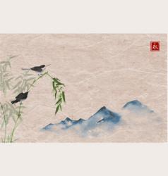 bird bamboo branch and mountain hand-drawn vector image