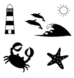 black and white summer travel sea icon set vector image