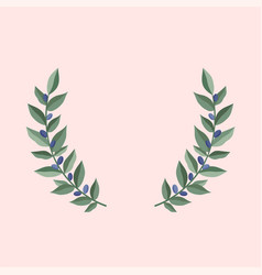 Black olive branches wreath on a dust pink vector