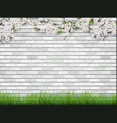 Blooming tree branch on brick wall background vector