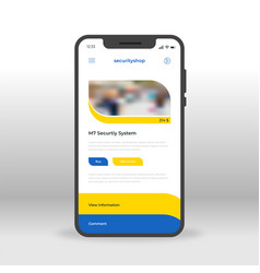 blue and yellow security shop ui ux gui screen vector image