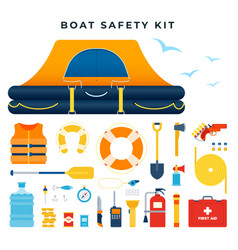 boat safety kit set icons water rescue vector image