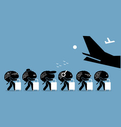 brain drain cartoon artworks depicts emigration vector image