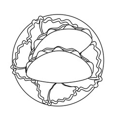 Burritos on dish with lettuce black and white vector