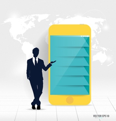 Businessman showing touchscreen device vector