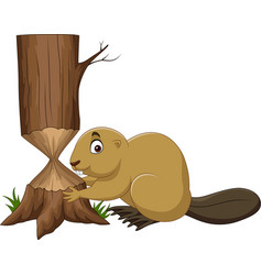 Cartoon beaver cutting tree isolated on white back vector