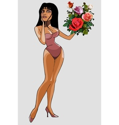 cartoon of a beautiful woman in lingerie vector image