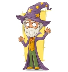 Cartoon old bearded wizard in big hat vector
