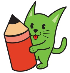 Cat and pencil vector