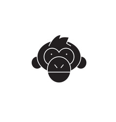 chimpanzee head black concept icon vector image