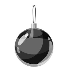 Christmas ball icon gray monochrome style vector image