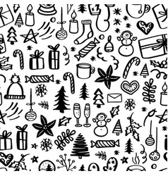Christmas seamless pattern with doodles hand vector