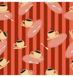 coffee cups on a red striped background vector image