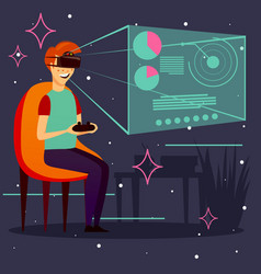 computer game virtual reality background vector image