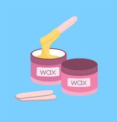 Cosmetic wax in jar vector