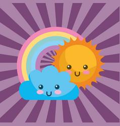 cute kawaii sun cloud and round rainbow cartoon vector image