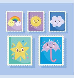 Cute stamps cartoon star umbrella rain rainbow vector
