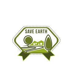 earth day save planet green tree icon vector image