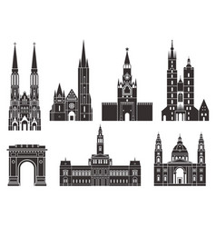 Eastern europe european buildings on white vector