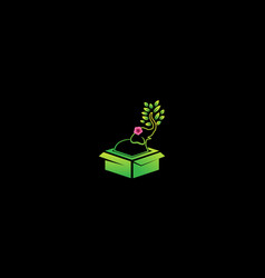 Elephant with flower and box logo design vector