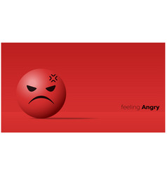 Emotional background with angry red face emoji vector