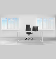 empty office room interior workplace with desk vector image