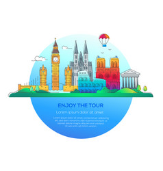 enjoy the tour - line travel vector image