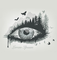 eye and forest with flying birds trees vector image