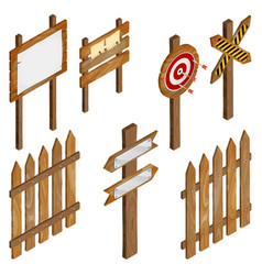 fence wooden signboards arrow sign target dart vector image