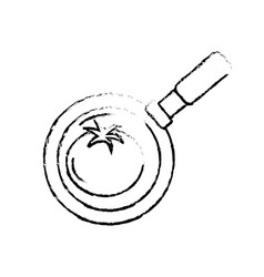 Figure tomato vegetable inside skillet pan vector