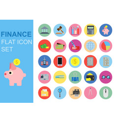 finance universal flat business icons set design vector image