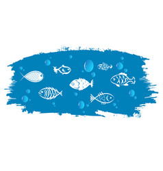 fish against background blue waves vector image