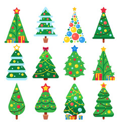 flat green christmas trees december holidays vector image
