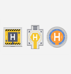flat helipads top view collection vector image