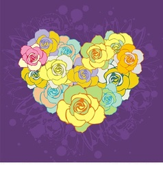 Floral colorful heart vector