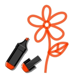 Flower and orange marker vector