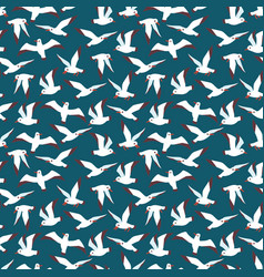 Flying atlantic seabird seamless pattern vector