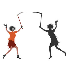 girl dress in halloween costume with scythe in vector image