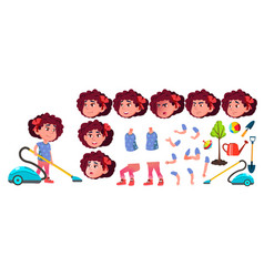 Girl kindergarten kid animation creation vector