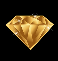 Gold diamond vector image