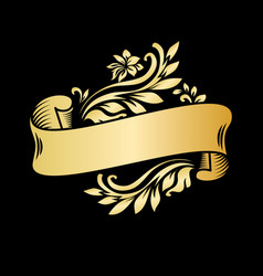gold vintage ribbon banner with leaves and flowers vector image
