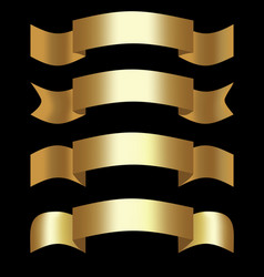 Golden 3d ribbons decorative shapes for elegant vector