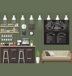 Green coffee shop interior vector
